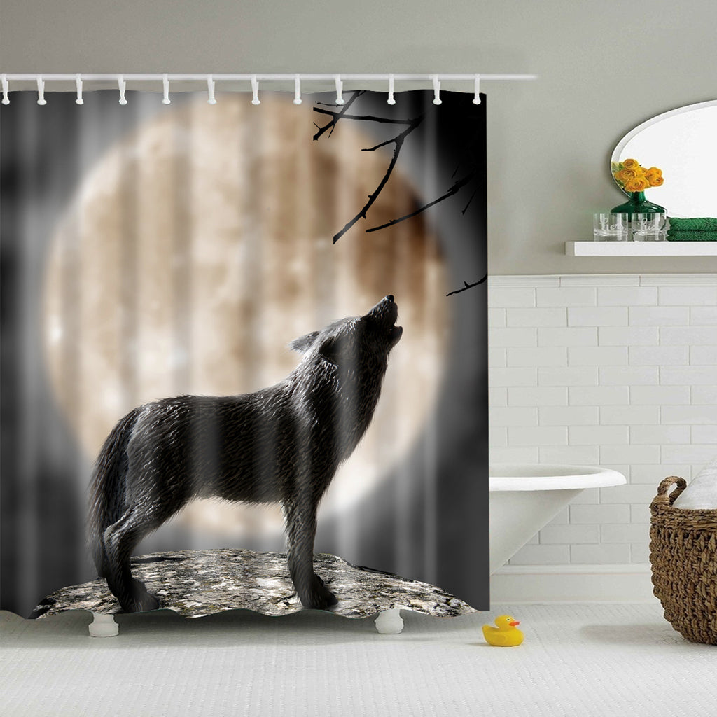 Wolf Howling in the Moon Night Shower Curtain