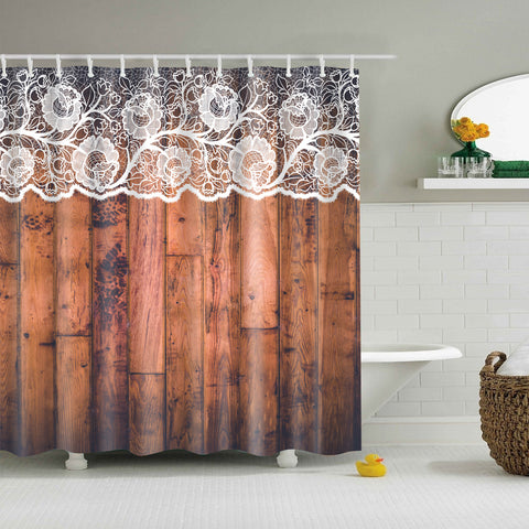 Wood Door with White Flower Lace Print Shower Curtain