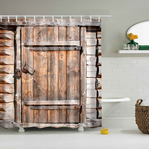 Wood Grain Stone Wall Print Shower Curtain