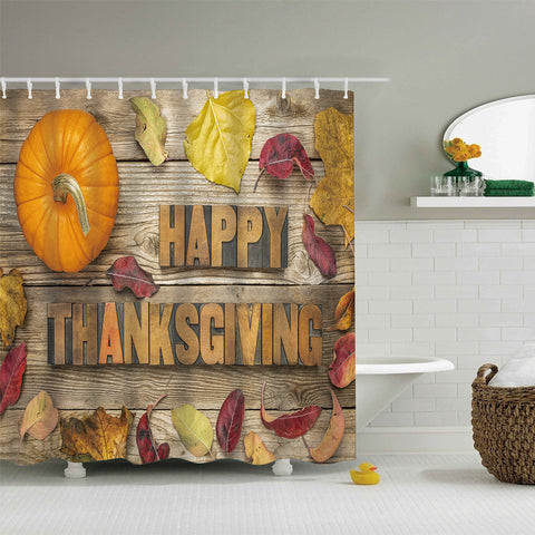 Wooden Border Fall Leaves with Pumpkin Harvest Holiday Happy Thanksgiving Quote Border Shower Curtain