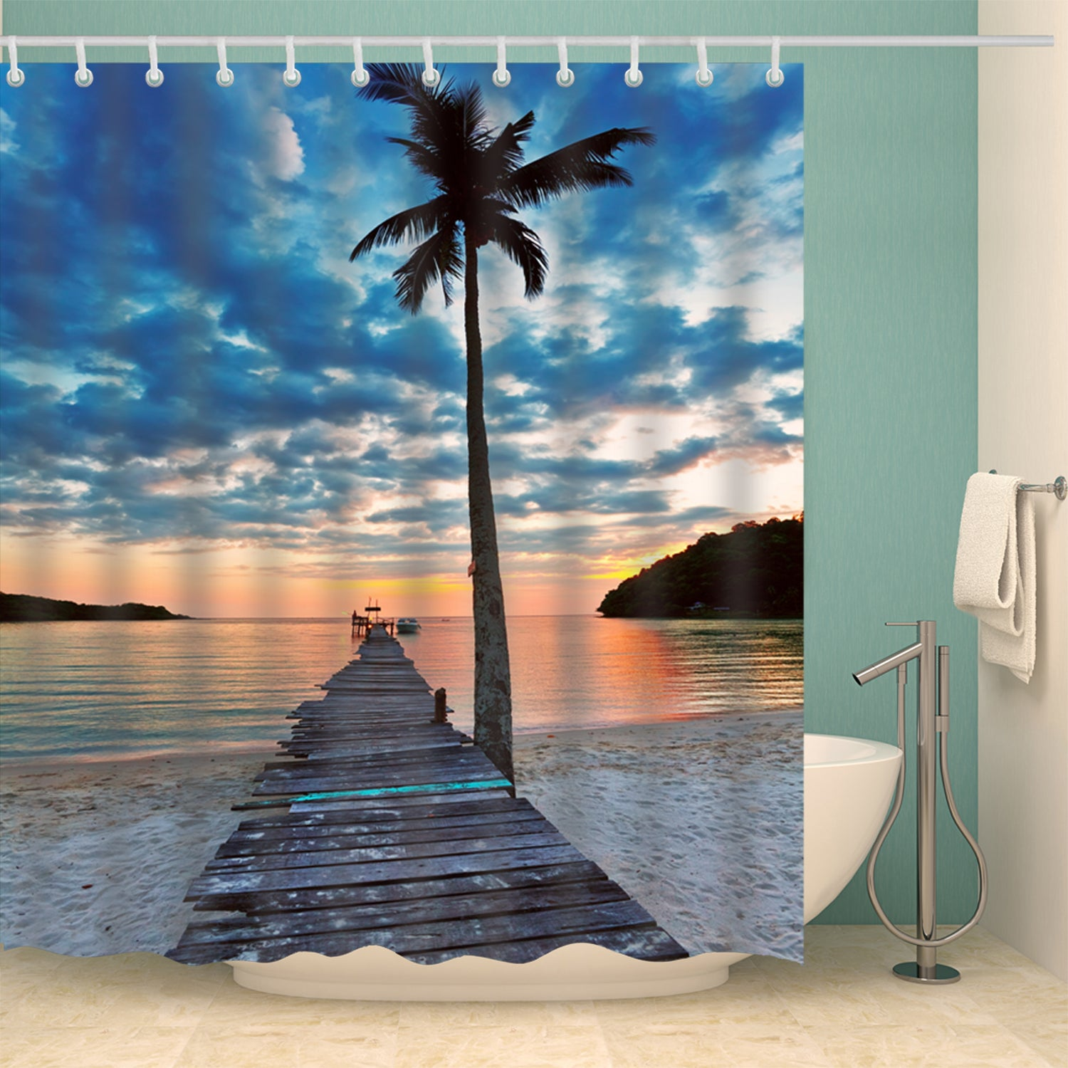 Wooden Pier Palm Tree Photo Print Shower Curtain