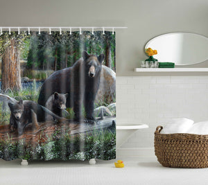 Woodland Black Bear Shower Curtain