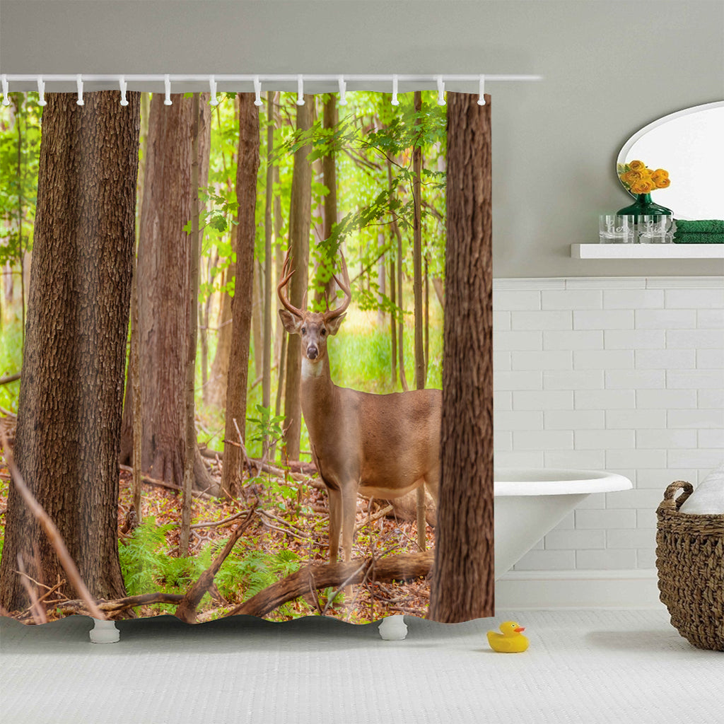 Woodland Real Deer Photo Print Shower Curtain