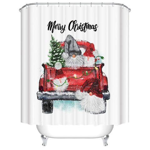 Xmas Truck Holiday Decoration Carry Trees Christmas Gnome Shower Curtain