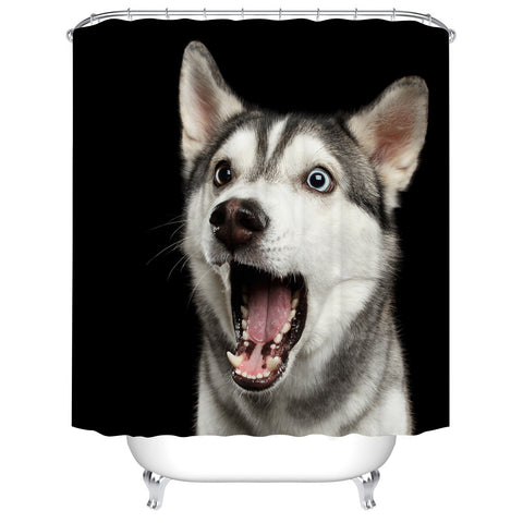 Yelling Husky Funny Dog Cute Pet Shower Curtain