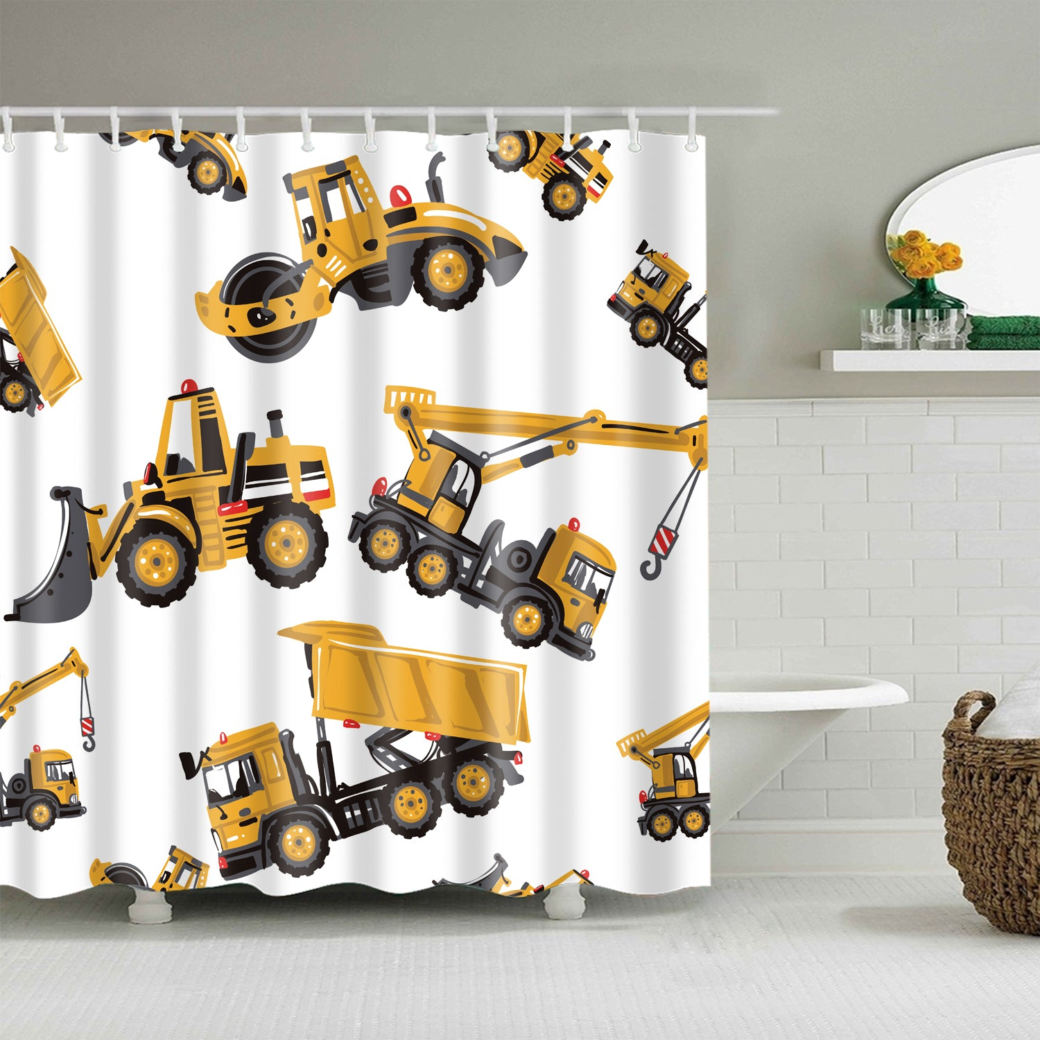 Yellow Cartoon Excavator Truck Shower Curtain Kids Construction Bathroom Decor