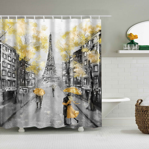 Yellow Romance Umbrella Lovers Paris Eiffel Tower Doccia Curtain