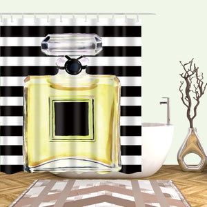Yellow Coco Chanel Art Shower Curtains