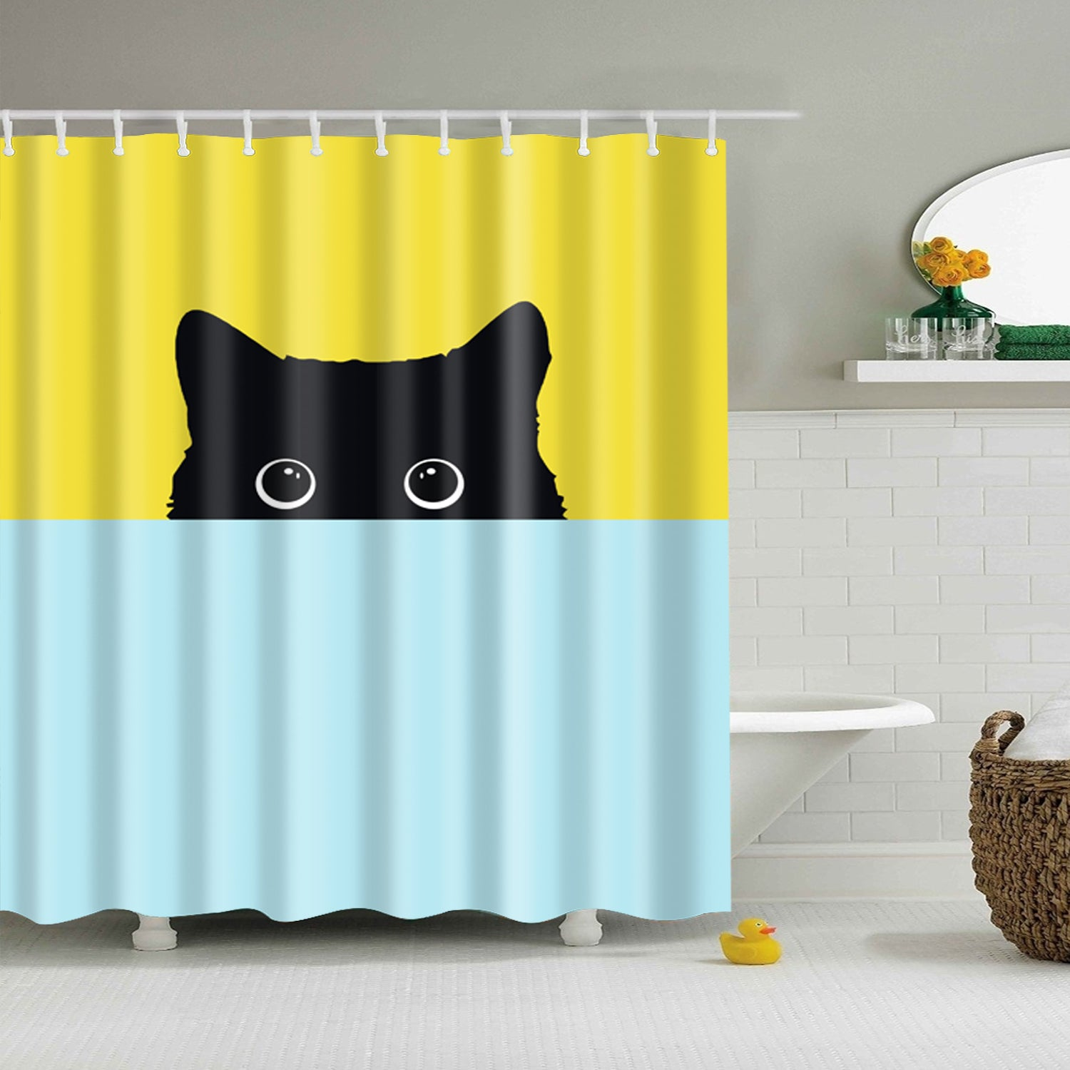 Yellow and blue With Black Cat Shower Curtain