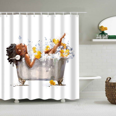Young Afro Girl Bathing with Rubber Duck Shower Curtain