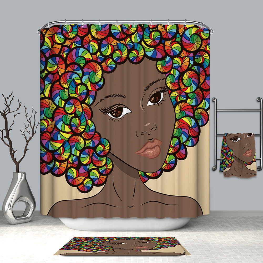 Young Colorful Hairstyle Afro Pretty African Shower Curtain
