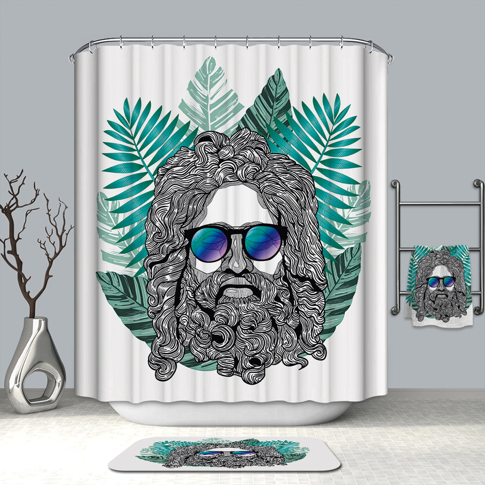 Zeus Glass Hipster Shower Curtain | GoJeek