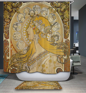 Zodiac le Plume Giclee By Alphonse Mucha Shower Curtain