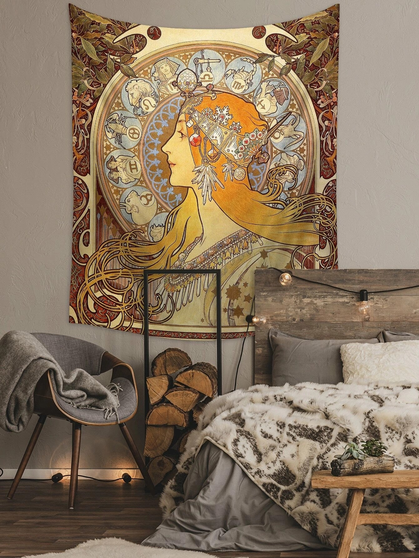 Zodiac le Plume Giclee By Alphonse Mucha Tapestry