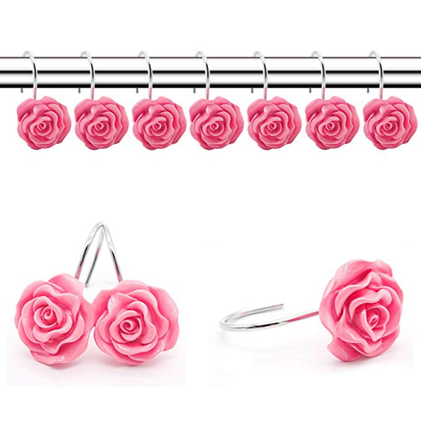 Elegant 12PCS Resin Rose Shape Shower Curtain Rings Hooks