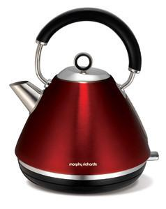 Morphy Richards Traditional Pyramid Metallic Red Accent Kettle 102004