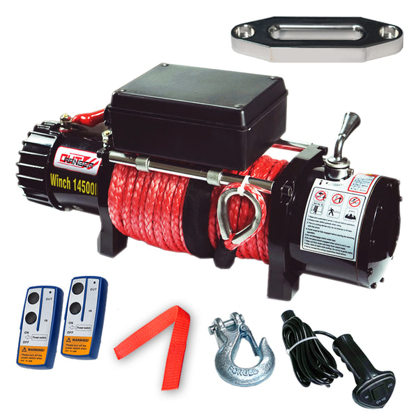 14500LBS Electric Winch 26M Synthetic Rope 6577KG 12V Wireless Remote 4WD 4X4