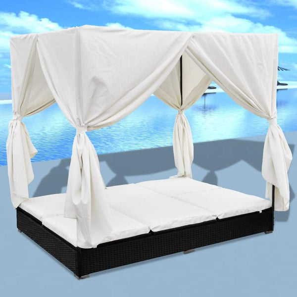 outdoor-lounge-bed-with-curtains-poly-rattan-black-vxl-42948-bitpay-zip-coinbase