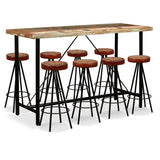 9-piece-bar-set-solid-reclaimed-wood-genuine-leather-canvas-vxl-275150-bitpay-zip-coinbase