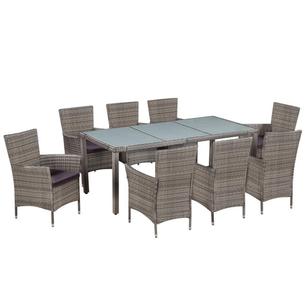9-piece-outdoor-dining-set-with-cushions-poly-rattan-grey-vxl-44070-bitpay-zip-coinbase
