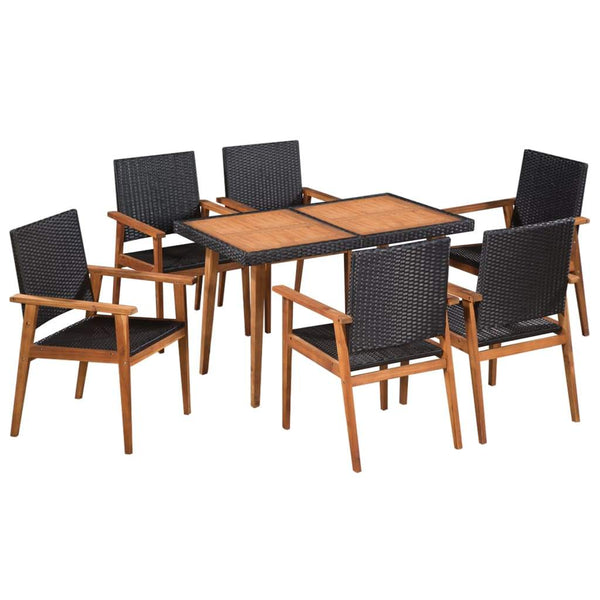 7-piece-outdoor-dining-set-poly-rattan-black-and-brown-vxl-44076-bitpay-zip-coinbase