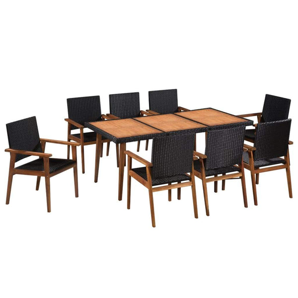 9-piece-outdoor-dining-set-poly-rattan-black-and-brown-vxl-44078-bitpay-zip-coinbase