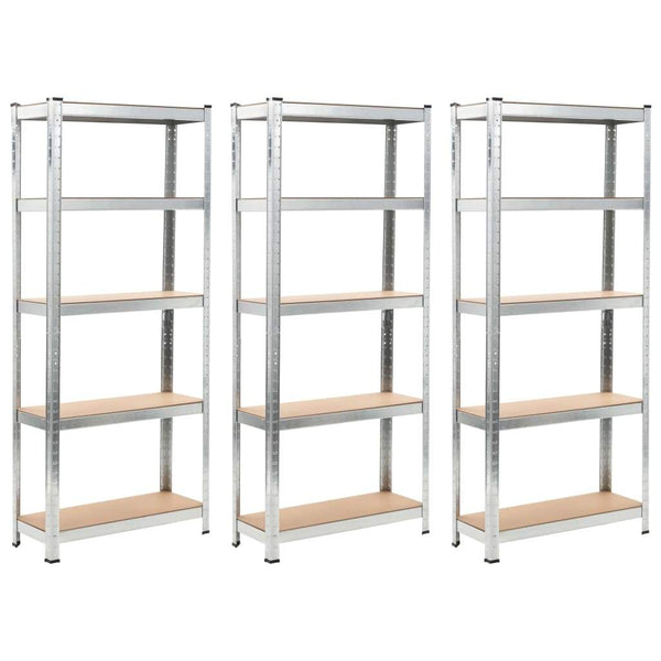 storage-shelves-3-pcs-silver-75x30x172-cm-steel-and-mdf-vxl-144272-bitpay-zip-coinbase