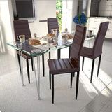 dining-set-brown-slim-line-chair-4-pcs-with-1-glass-table-vxl-271693-bitpay-zip-coinbase