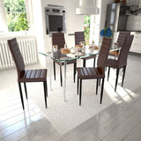 dining-set-brown-slim-line-chair-6-pcs-with-1-glass-table-vxl-271694-bitpay-zip-coinbase