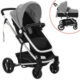 2-in-1-baby-stroller-pram-aluminium-grey-and-black-vxl-10107-bitpay-zip-coinbase