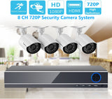 8 Channel 1080N CCTV High Definition Home Security Surveillance System Kit, including 4pcs High Definition AHD Waterproof Cameras