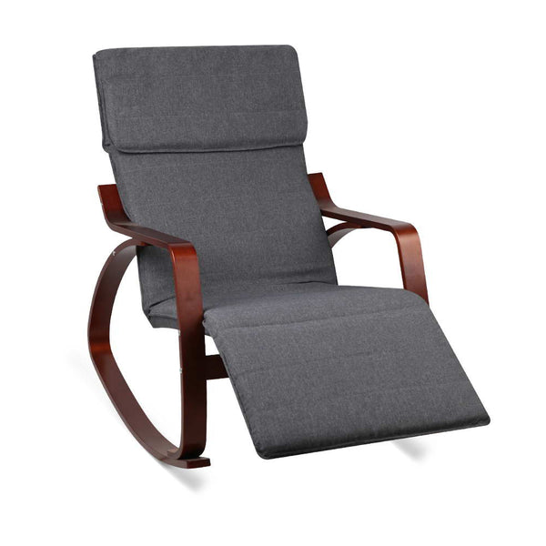 Birch Plywood Adjustable Rocking Lounge Arm Chair w/ Fabric Cushion Charcoal