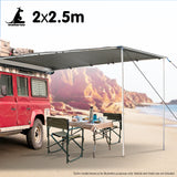 Wallaroo 2m x 2.5m Car Side Awning Roof Top Tent - Grey