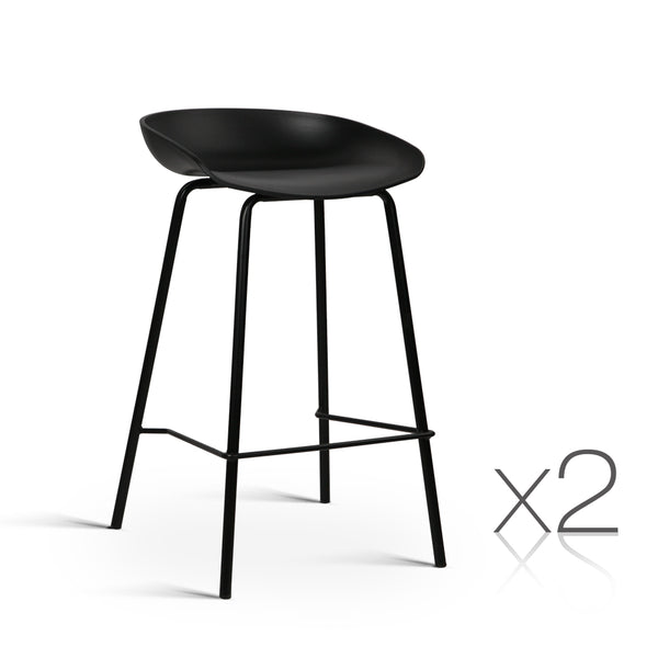 Set of 2 Bar Stools with PP Plastic Seat Black