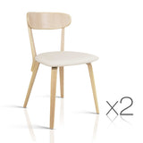 Set of 2 Modern Dining Chairs - Beige
