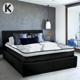 King Fabric Gas Lift Bed Frame with Headboard - Black
