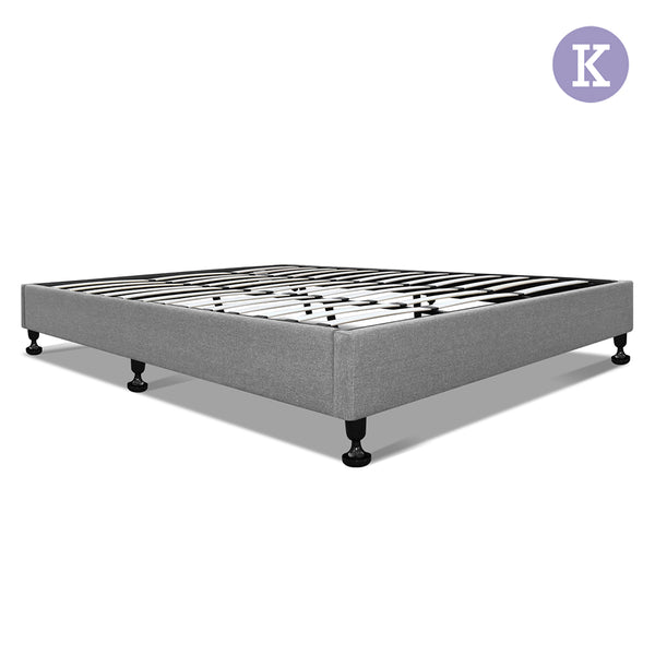 King Polyester Fabric Bed Base Grey