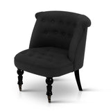 French Provincial Lorraine Accent Chair Linen Fabric Black