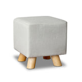 Linen Square Foot Stool Beige