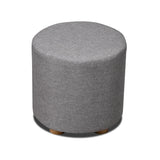 Linen Round Ottoman Light Grey