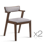 Set of 2 Retro Dining Chair Grey & Walnut