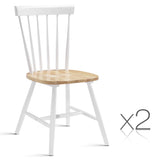 Set of 2 Timber Dining Chair White & Oak