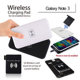 QI Wireless Charger Power Bank Charging Pad + Receiver for Samsung Galaxy Note 3 N9000 Black