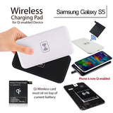 QI Wireless Charger Power Bank Charging Pad + Receiver for Samsung Galaxy S5 G900 Black