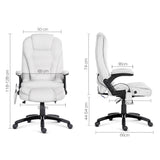 8 Point Massage Executive PU Leather Office Chair White