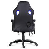 8 Point Massage Racer PU Leather Office Chair Black Blue