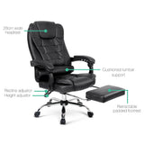 PU Leather Office Chair with Foot Rest Black