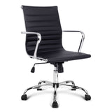 Replica Eames PU Leather Low Back Office Chair - Black