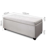 Faux Linen Ottoman Storage Foot Stool Large Beige