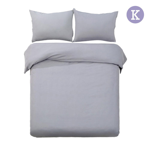 King 3-piece Quilt Set Grey